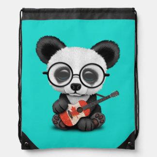 Baby Panda Playing Canadian Flag Guitar Drawstring Bag