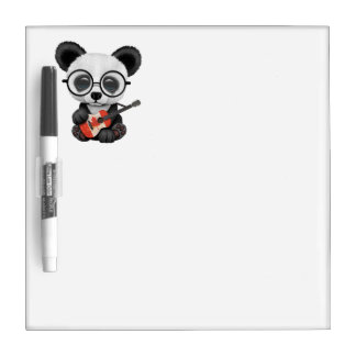 Baby Panda Playing Canadian Flag Guitar Dry Erase Board