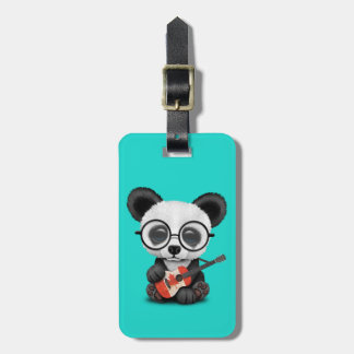 Baby Panda Playing Canadian Flag Guitar Luggage Tag