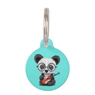 Baby Panda Playing Canadian Flag Guitar Pet Name Tag