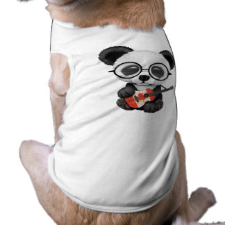 Baby Panda Playing Canadian Flag Guitar Shirt