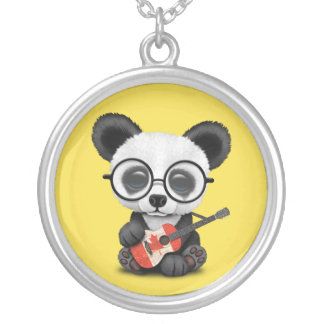 Baby Panda Playing Canadian Flag Guitar Silver Plated Necklace