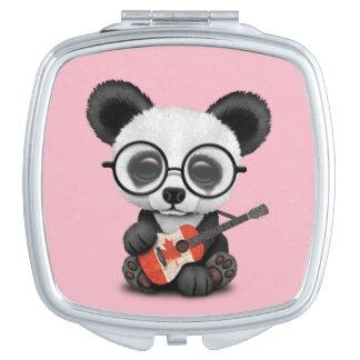 Baby Panda Playing Canadian Flag Guitar Travel Mirror
