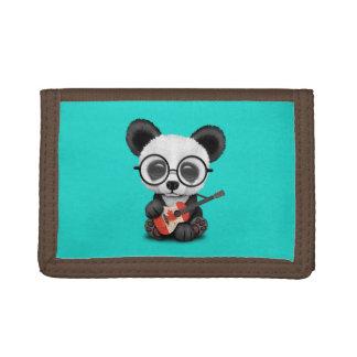 Baby Panda Playing Canadian Flag Guitar Trifold Wallet