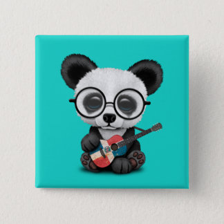 Baby Panda Playing Dominican Flag Guitar 2 Inch Square Button