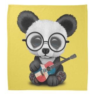 Baby Panda Playing Dominican Flag Guitar Bandana