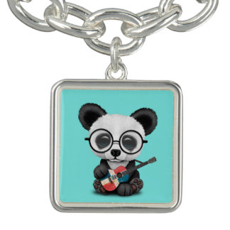 Baby Panda Playing Dominican Flag Guitar Charm Bracelet