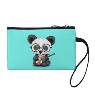 Baby Panda Playing Dominican Flag Guitar Coin Purse