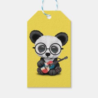 Baby Panda Playing Dominican Flag Guitar Gift Tags