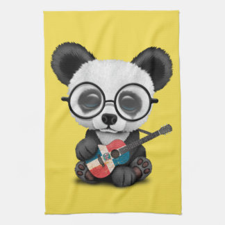 Baby Panda Playing Dominican Flag Guitar Kitchen Towel