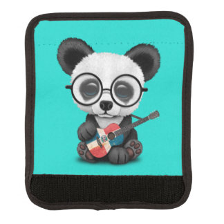 Baby Panda Playing Dominican Flag Guitar Luggage Handle Wrap