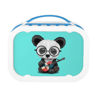 Baby Panda Playing Dominican Flag Guitar Lunch Box