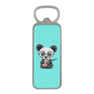 Baby Panda Playing Dominican Flag Guitar Magnetic Bottle Opener