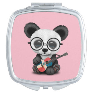 Baby Panda Playing Dominican Flag Guitar Mirror For Makeup
