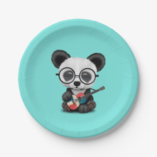 Baby Panda Playing Dominican Flag Guitar Paper Plate