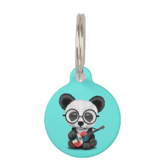 Baby Panda Playing Dominican Flag Guitar Pet Tag