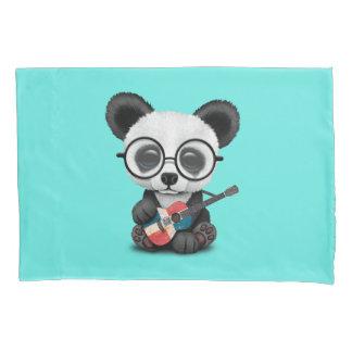 Baby Panda Playing Dominican Flag Guitar Pillowcase