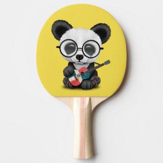 Baby Panda Playing Dominican Flag Guitar Ping Pong Paddle