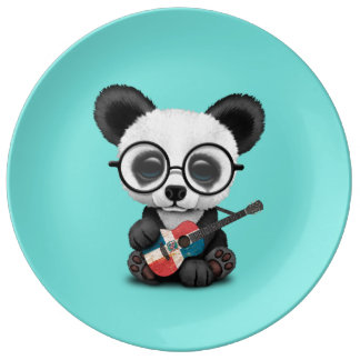 Baby Panda Playing Dominican Flag Guitar Plate