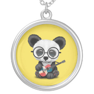 Baby Panda Playing Dominican Flag Guitar Silver Plated Necklace
