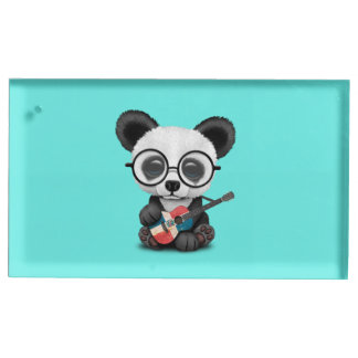 Baby Panda Playing Dominican Flag Guitar Table Number Holder
