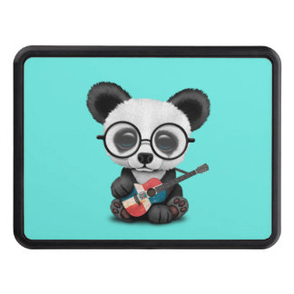 Baby Panda Playing Dominican Flag Guitar Trailer Hitch Cover