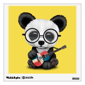 Baby Panda Playing Dominican Flag Guitar Wall Sticker