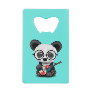 Baby Panda Playing Dominican Flag Guitar Wallet Bottle Opener