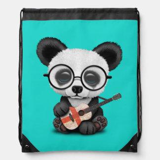 Baby Panda Playing English Flag Guitar Drawstring Bag