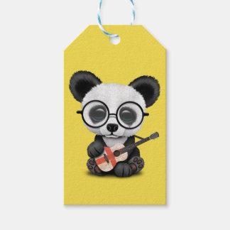 Baby Panda Playing English Flag Guitar Gift Tags