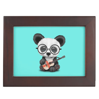 Baby Panda Playing English Flag Guitar Keepsake Box