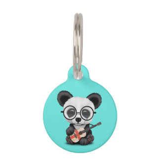 Baby Panda Playing English Flag Guitar Pet Name Tag