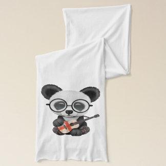 Baby Panda Playing English Flag Guitar Scarf