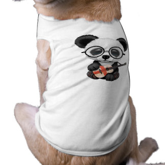 Baby Panda Playing English Flag Guitar Shirt
