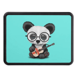Baby Panda Playing English Flag Guitar Trailer Hitch Cover