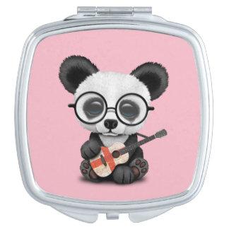 Baby Panda Playing English Flag Guitar Travel Mirror