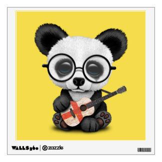 Baby Panda Playing English Flag Guitar Wall Decal