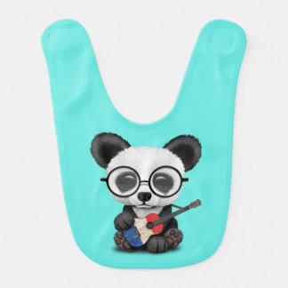 Baby Panda Playing French Flag Guitar Bib