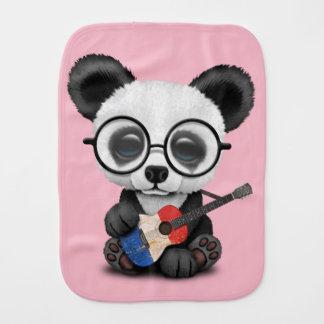 Baby Panda Playing French Flag Guitar Burp Cloth