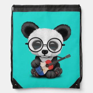Baby Panda Playing French Flag Guitar Drawstring Bag