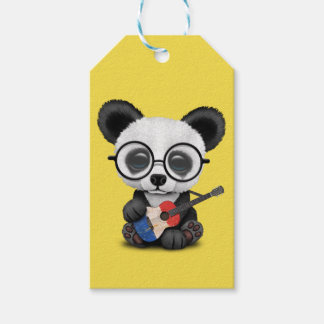 Baby Panda Playing French Flag Guitar Gift Tags