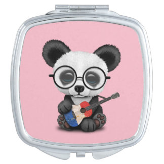 Baby Panda Playing French Flag Guitar Mirror For Makeup