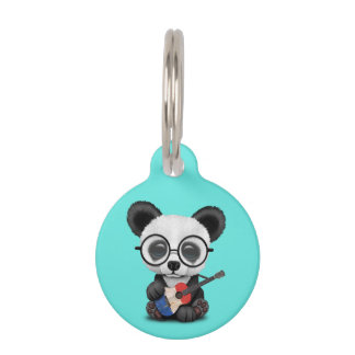Baby Panda Playing French Flag Guitar Pet Name Tag