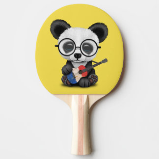 Baby Panda Playing French Flag Guitar Ping Pong Paddle