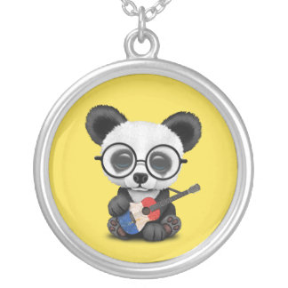 Baby Panda Playing French Flag Guitar Silver Plated Necklace