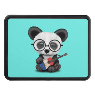 Baby Panda Playing French Flag Guitar Trailer Hitch Cover