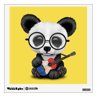 Baby Panda Playing French Flag Guitar Wall Sticker