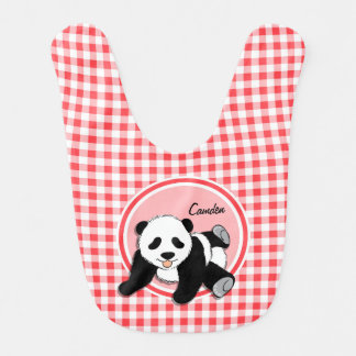 Baby Panda; Red and White Gingham Bib