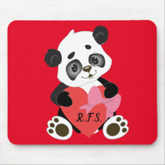 Baby Panda with heart red Mouse Pad
