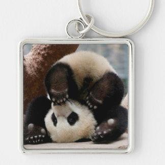 Baby pandas playing - baby panda  cute panda keychain